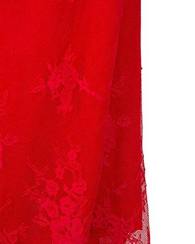 SaiDeng Les Femmes Dentelle Cru Cocktail Robe De Soiree Une Ligne-Robe Noble Col-V Mariage Robe Rouge