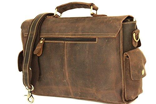 Messenger, sacchetto del computer portatile, borsa a tracolla, UNISEX medio di cuoio (34 / 27 / 9 cm) mod p 4026 Italia marrone scuro