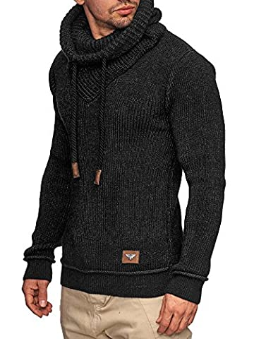 INDICODE Herren Keshawn Grobstrick Winter-Pullover Norweger Hoodie Strickpullover Schalkragen Slim Fit Schwarz L
