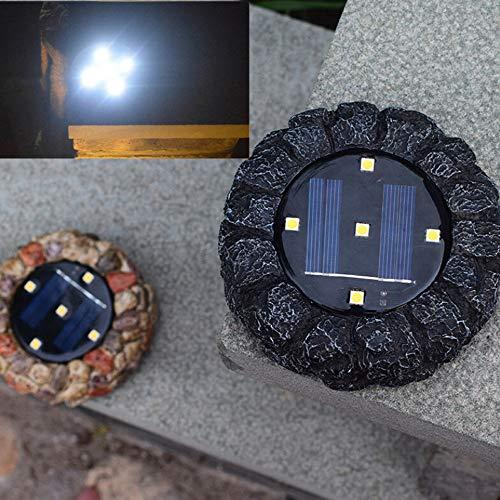 5 Stück Resin (DSstyles 4 Stück 5 LED Solar Energie Powered Resin Stein Form Boden Graben Licht Outdoor Wasserdicht Garten Garten Rasen Lampe Dekoration Weißes Licht)