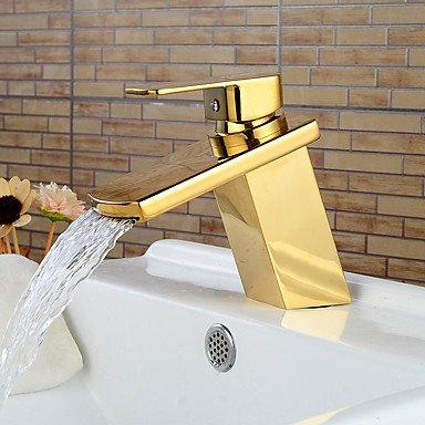 GDS Faucet£¬ Modern Ti-PVD Finish Waterfall Bathroom Sink Faucet (Short)- Gold
