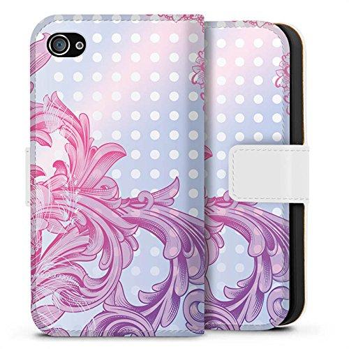 Apple iPhone X Silikon Hülle Case Schutzhülle Punkte Muster Floral Sideflip Tasche weiß