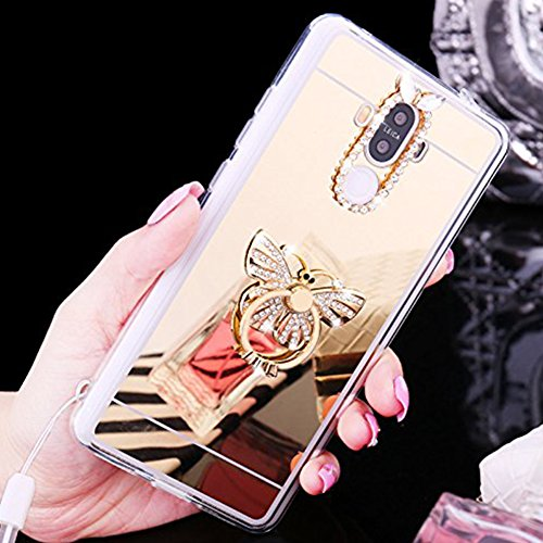 Custodia Cover per Huawei P9, Ukayfe Cover Specchio Lusso Placcatura Lucido di Cristallo di Scintillio Strass Diamante Glitter Caso per iPhone 7 Plus[Crystal TPU] [Shock-Absorption] Protettiva Ultra S Farfalla di Diamante Oro 2#