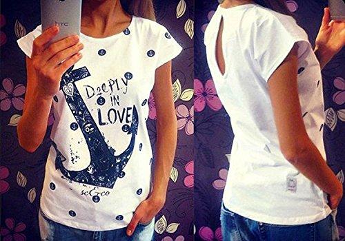 Shirts Damen Sommer Kurzarm Anker T Shirt Druck Tops Oberteile Frauen Weiß