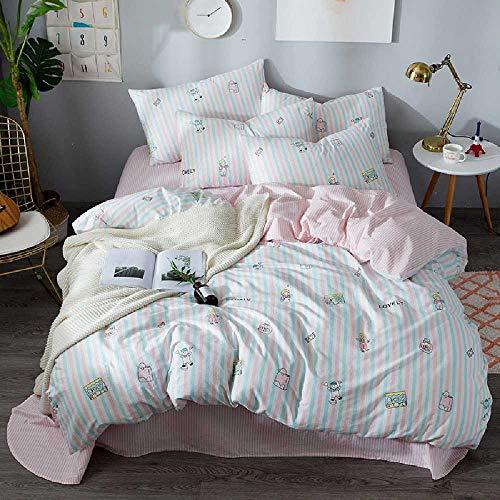yekong Einfache kleine frische Baumwolle vierteiligen Satz Bettwäsche alle Baumwolle Quilt Bettwäsche 4 Stück Set Zu Hause Textil 2m Convient Pour 1.5M-1.8M lits/Jouets -