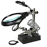 KKmoon Magnifier with LED Light 2.5X 7.5X 10X LED Light Magnifier Helping Hand Auxiliary Clamp Alligator Clip Stand