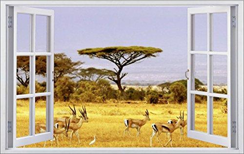 DesFoli Safari Afrika Savanne 70 X 115 Cm Wanddurchbruch Wandbild Sticker  Aufkleber F055