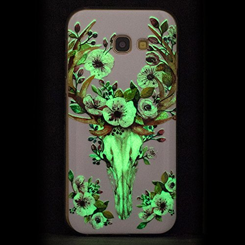 Coque Galaxy A3 2017 Luminous,Transparent Coque pour Samsung Galaxy A3,Ekakashop Ultra Slim-fit Noctilucent avec Motif Cerisier Coque de Protection en Soft TPU Silicone Crystal Clair Souple Gel Housse Cerf Luminous