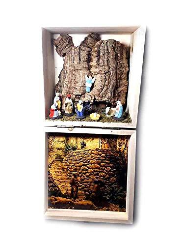 Presepe in scatola legno completo 2018, 14x14 cm altezza 9,5cm sughero e legno napoletano con 9 pastori da 3,5 4 cm terracotta per statuine presepe ricevi 1 portachiavi artigianali vit