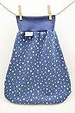 Strampelsack aus Bio-Baumwolle, Schlafsack zum Pucken, Babys und Kinder, 62 68, für Bett Kinderwagen, blau weiß Sterne, Mädchen Jungen