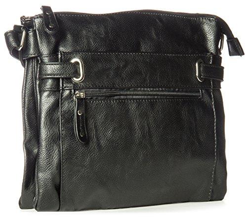 Big Handbag Shop mittelgroße Damen Schultertasche Cross Body Umhängetasche schwarz
