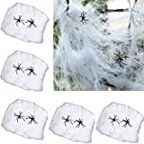 Ailiebhaus 5 Set Halloween Spinnweben Dekoration Spinnennetz mit 2 Spinnen (Weiß)