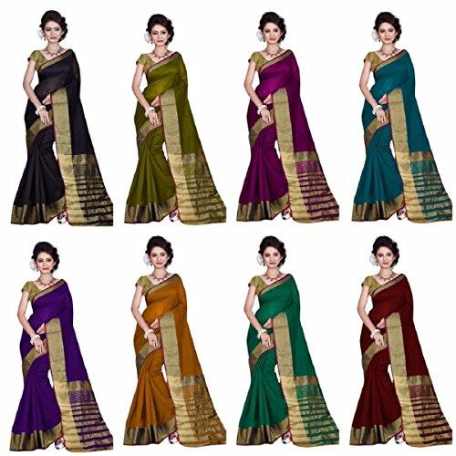 Hinayat Fashion Multicolor Art Silk Saree Combo