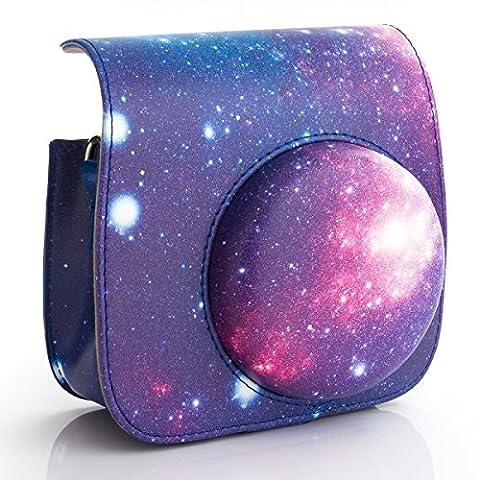 WOODMIN Galaxis Sternenklarer Himmel Kameratasche Tasche Schutzhülle aus PU Leder für Fujifilm Instax Mini 8/8+ Kamera