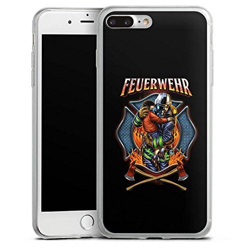 Apple iPhone 8 Plus Slim Case Silikon Hülle Schutzhülle Feuerwehrmann Lebensretter feuerwehr Silikon Slim Case transparent