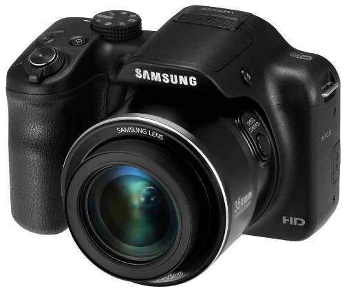 Samsung WB1100F 16.2MP Smart WiFi and NFC Digital Camera with 35x Optical Zoom and 3.0-inch LCD (Black), 4GB Card, Camera Pouch
