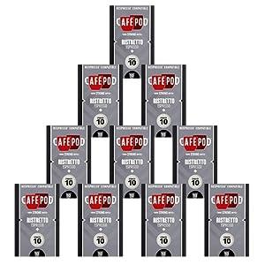 CafePod Ristretto Pack Of 100 Nespresso Compatible Coffee Capsules