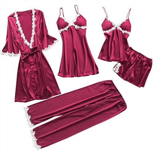B-commerce 5PC Pyjamas Anzug Frauen Sexy Dessous Komfortable Weiche Unterwäsche Babydoll Nachtwäsche Kleid