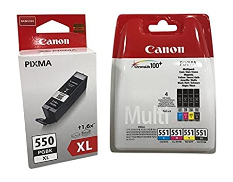 Original Cartouches d'encre pour Canon PIXMA iP7250/ 8750, iX6850, MG 5450/ 5550/ 5650/ 6350/ 6450/ 6650/ 7150/ 7550, MX725/ 925 avec Stylo à bille - noir XL 4er)
