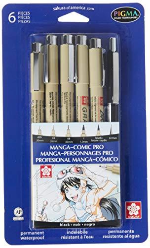 SAKURA Pigma Manga Comic Book Pro Drawing Kit 6/Pkg-Black