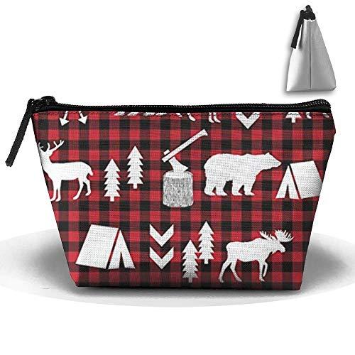 Buffalo Plaid Woodland Christmas Winter Cosmetic Bag, Portable Travel Makeup Case Pouch Toiletry Wash Organizer. Basic Buffalo