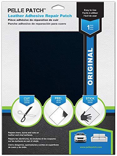 Pelle Patch - Pièce adhésive de réparation de Cuir et Vinyle - 25 Couleurs Disponibles - Original 20cm x 28cm - Bleu Foncé