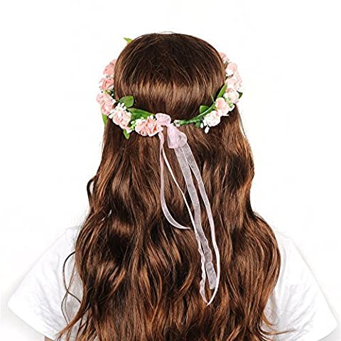 Often Couronne Fleur de Rose Floral Wreath Bandeau de Garland avec Floral Wrist Band pour Festival Mariage Outil de Photographie, Rose +