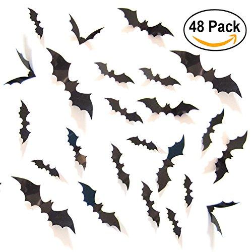 UNOMOR 3D Fledermaus Wand Aufkleber Halloween Party Dekoration mit 4 verschiedenen Größe, 48 Stück
