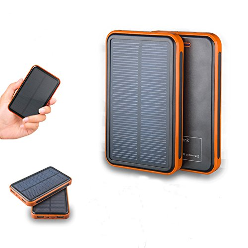Preisvergleich Produktbild eyeCam EC235 DUAL 10000 mAh Solar Ladegerät, Wasser- & Staubabweisend, neue Version 2016, 2A und 1A - Universal externes Akku Batterie Netzteil Power Charger für Smart Phone Handys MP3 Player Navi Ebook reader PDA mini Speaker iPhone, iPad, iPod, Samsung Galaxy, Motorola, HTC, LG, Nokia, Sony Ericsson, Samsung Tab Farbe: Orange