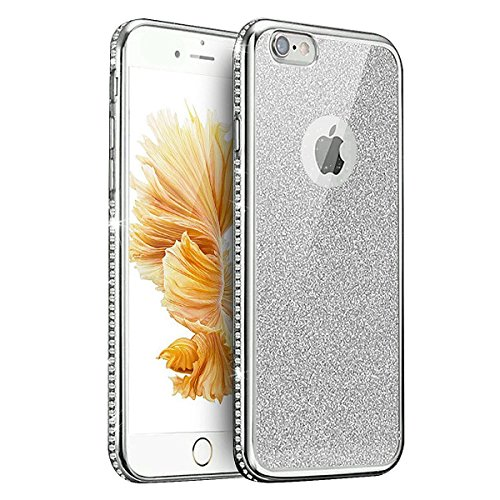 Coque Housse Etui pour iPhone 7/iPhone 8, iPhone 7/8 d'or Coque en Silicone Placage Coque Clair Ultra-Mince Etui Housse Glitter Paillette,iPhone 7 Silicone Case Gold Slim Soft Gel Cover with Diamond,  Diamant Glitter-Argent