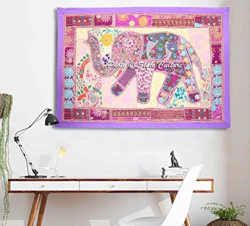 Stylo Culture Elefante étnico Bordado Patchwork Pared Colgante Tapiz de Sala de Estar púrpura decoración de Pared de algodón