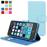 iPhone 5 / 5s Hülle (Hellblau), SnuggTM - Flip Case mit lebenslanger Garantie + Kartenfächern & Standfunktion