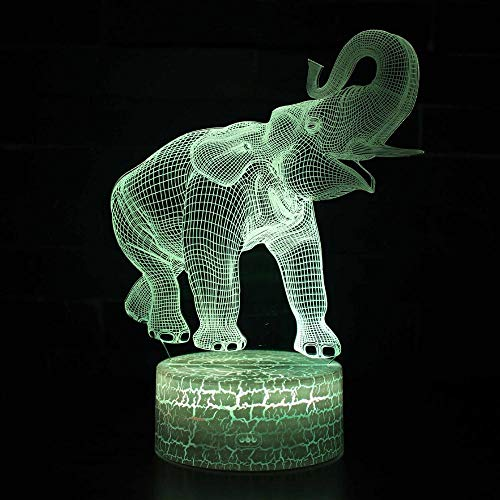 Elefantes 3d Colorido Lámpara Led Acrílico Tablero Noche Luz Usb Plug In...