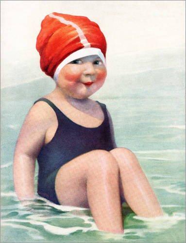Holzbild 60 x 80 cm: Kind mit Badekappe von Bridgeman Images