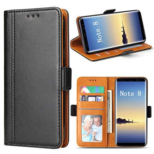 Bozon Galaxy Note 8 Hülle, Leder Tasche Handyhülle für Samsung Galaxy Note 8 Flip Wallet Schutzhülle mit Ständer und Kartenfächer/Magnetverschluss (Schwarz) - Note 3 Holster Für Samsung