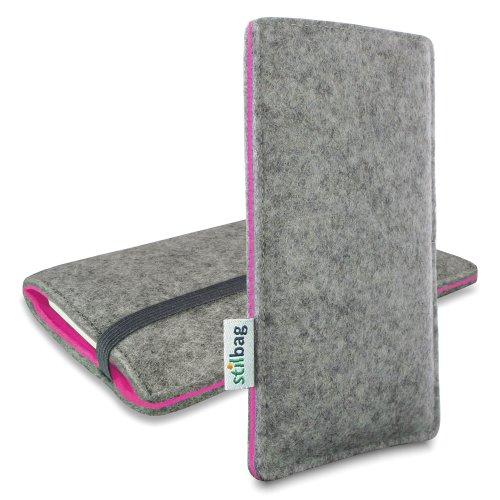 Stilbag Filztasche 'FINN' für Apple iPhone 6 plus - Farbe: hellgrau/pink