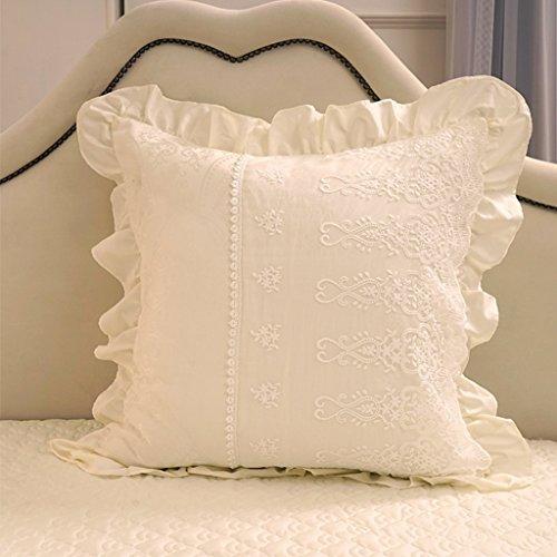 uus Coussin de canapé / coussin Coeur / carré / rond / Forme de bonbons avec élastique Belle dentelle Couverture latérale Lavable Qualité Perle Coton remplissant ( Couleur : B(only cover) )