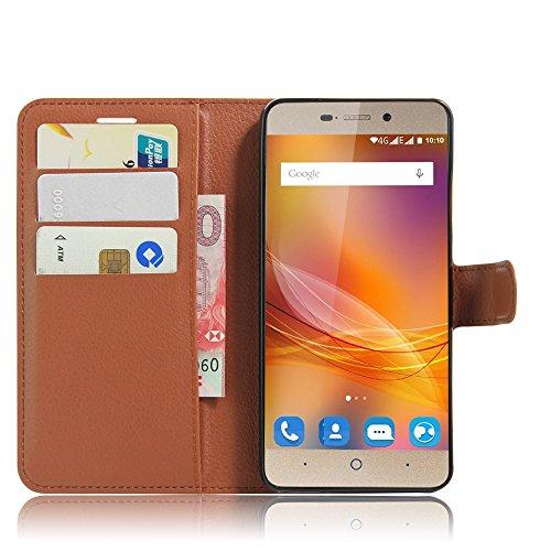SMTR ZTE blade A452 Wallet Tasche Hülle - Ledertasche im Bookstyle in Braun - [Ultra Slim][Card Slot][Handyhülle] Flip Wallet Case Etui für ZTE blade A452