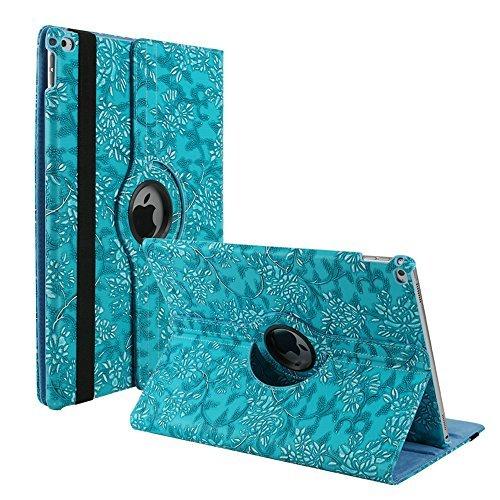 Hülle für iPad Mini 4 7.9 inch, TechCode 360 Grad Rotation Stand PU Ledertasche Schützende Flip Folio Abnehmbar Weiche Gummiabdeckung Hülle für Apple iPad Mini 4 7,9 Zoll (iPad Mini 4, Lila) Blau