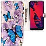 CLM-Tech Huawei P20 Pro Hülle, Tasche aus Kunstleder Schmetterlinge Blumen blau lila, PU Leder-Tasche für Huawei P20 Pro Lederhülle