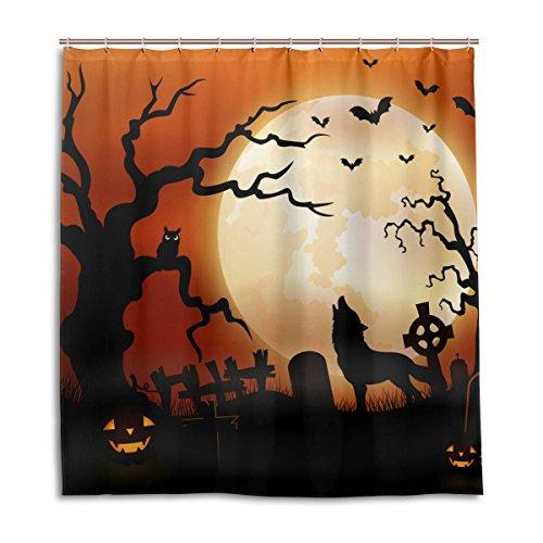 jstel Decor Vorhang für die Dusche Halloween Wolf Night Kürbisse Eule Mond Muster Print 100% Polyester Stoff 167,6x 182,9cm für Home Badezimmer Deko Dusche Bad Vorhänge mit Kunststoff Haken