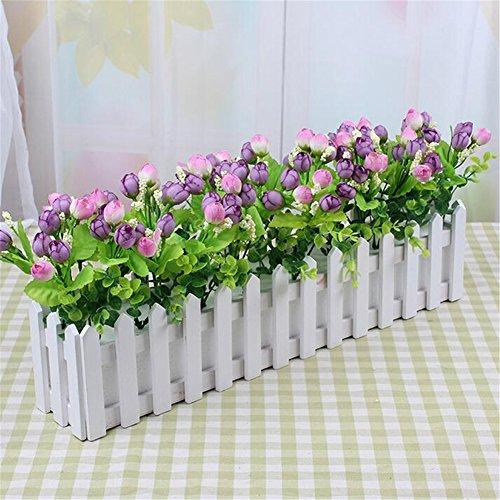 Lembeauty - cestino per piante o fiori a forma di piccola recinzione, per giardino o per decorare la casa, con plastica espansa, legno, l: 30cm