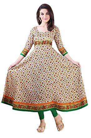Libas Women's Printed Anarkali Kurta (1271_Multicolor_XX-Large)