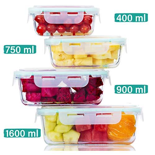 Praknu Frischhaltedosen mit Deckel 4er Set aus Glas - Luftdicht - Spülmaschinenfest - BPA frei - Borosilikatglas -