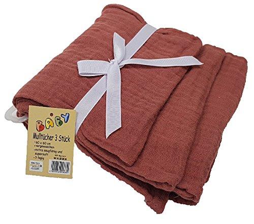 3er Pack Mullwindeln Mulltücher 3 Stück Vorgewaschen Spucktuch Tücher Baby Tuch Windeln (Kupferfarbe)