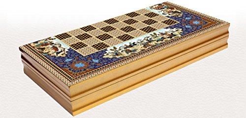 Orientalisches LUXUS Backgammon HOLZ TAVLA XXL Intarsien Look 48 X 48 cm