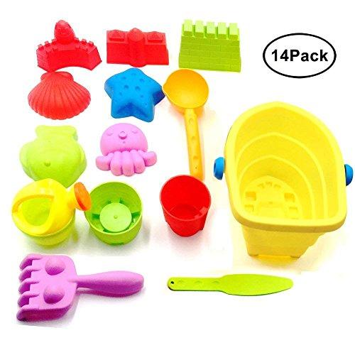 (MAIKEHIGH Strandspielzeug Strand Sand Spielzeug Modelle Set gehören Eimer, Schaufeln, Rechen, Schloss Formen, Netztasche mit Pull Strings, Leicht Sauber für Kind, Kind, Junge Baby, Mädchen, Kinder)