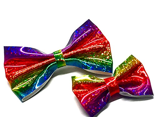 La Pfirsich Fashions Lovely Set von zwei brandneue Holografische Rainbow Bow Clip schöne Produkt Kinder Haar Bögen Größe 9cm und 12cm