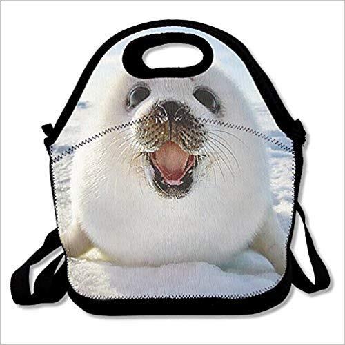 Dozili Baby Harp Seal Große & dicke Neopren-Lunch-Taschen, isolierte Lunch-Tasche, Kühltasche, warm, mit Schultergurt, für Damen, Teenager, Mädchen, Kinder, Erwachsene - Seal Harp Baby