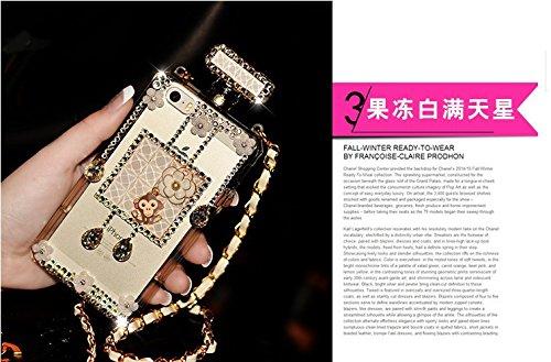 Coque iPhone 6/6s , iNenk® Parfum bouteilles téléphone Shell perle fleur souple TPU diamant Drill téléphone Etuis luxe avec protection mode chaîne Halter-Blanc 3blanc